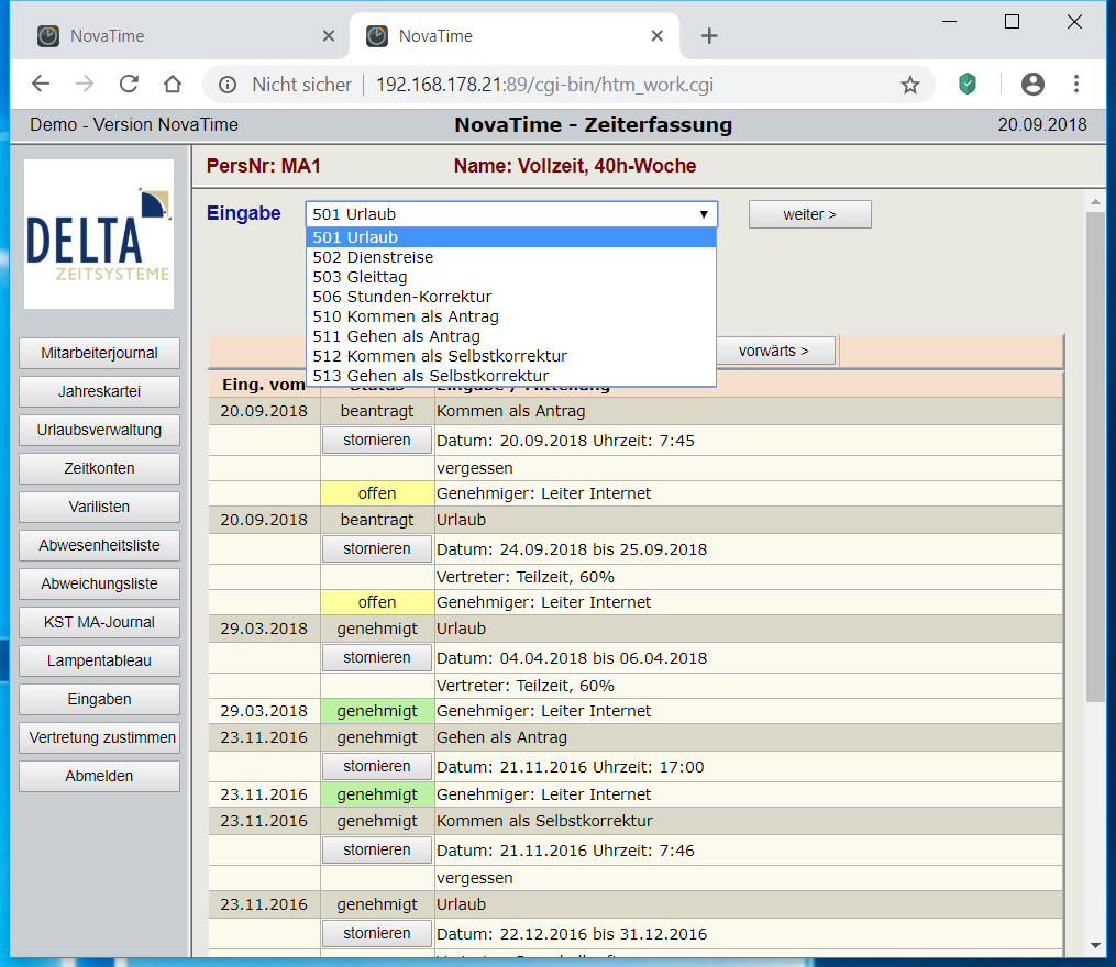 NovaTime Browserterminal Firefox